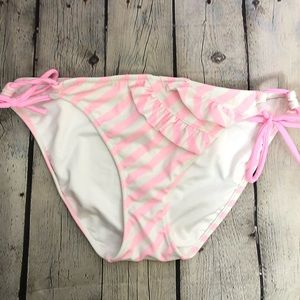 Victoria's Secret Pink Striped Ruffle Bikini